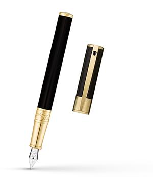 Перьевая ручка S.T. Dupont D-Initial, лак, позолота, черная  260205