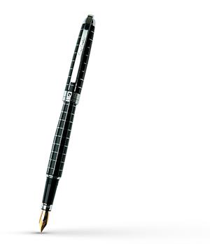 Перьевая ручка Pierre Cardin Progress, латунь, лак, сталь, хром, клетчатая грав  PC5000FP