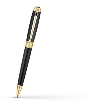 Шариковая ручка S.T. Dupont Line D Medium, натуральный лак, позолота, черная  415101M