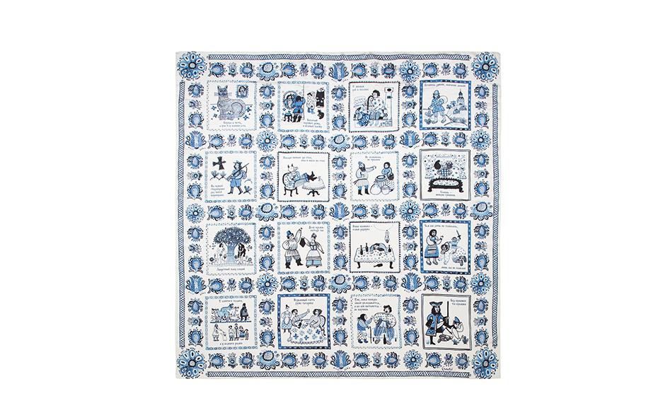 Платок Gourji Гжель, шелк, 90x90, бело-синий  T21GZH7R/1'