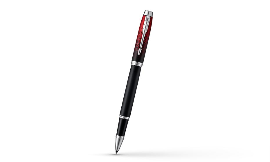 Чернильная ручка Parker ювелирная латунь, черный матовый лак с красным рис  2074032