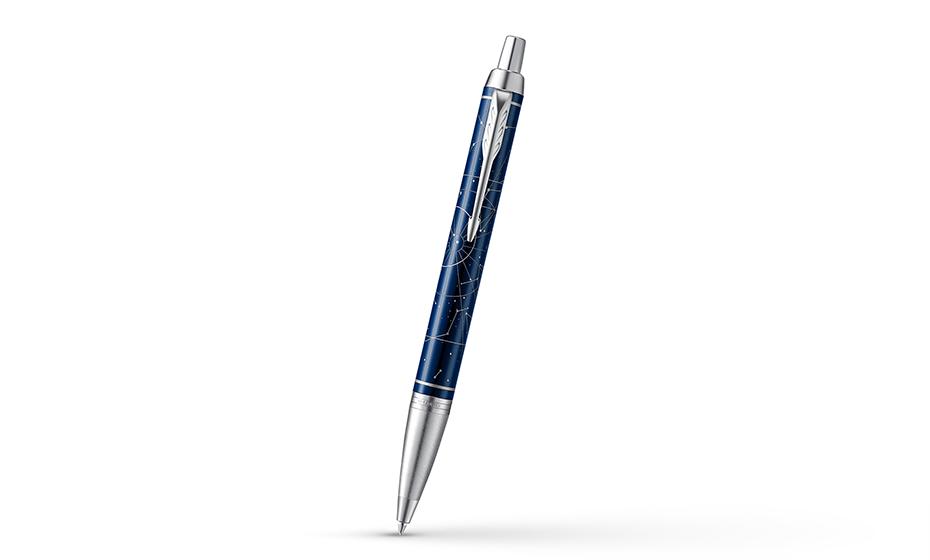 Шариковая ручка Parker нержавеющая сталь, темно-синий лак с рисунком