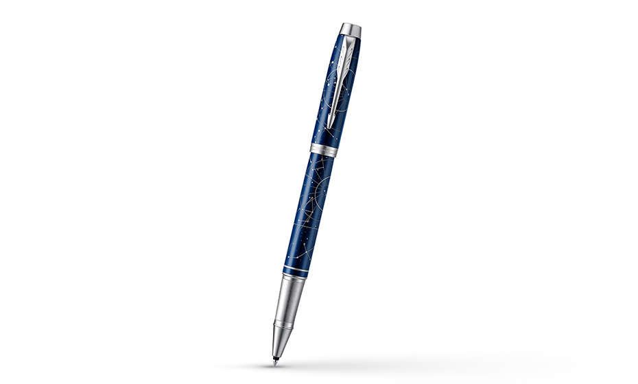 Чернильная ручка Parker нержавеющая сталь, темно-синий лак с рисунком