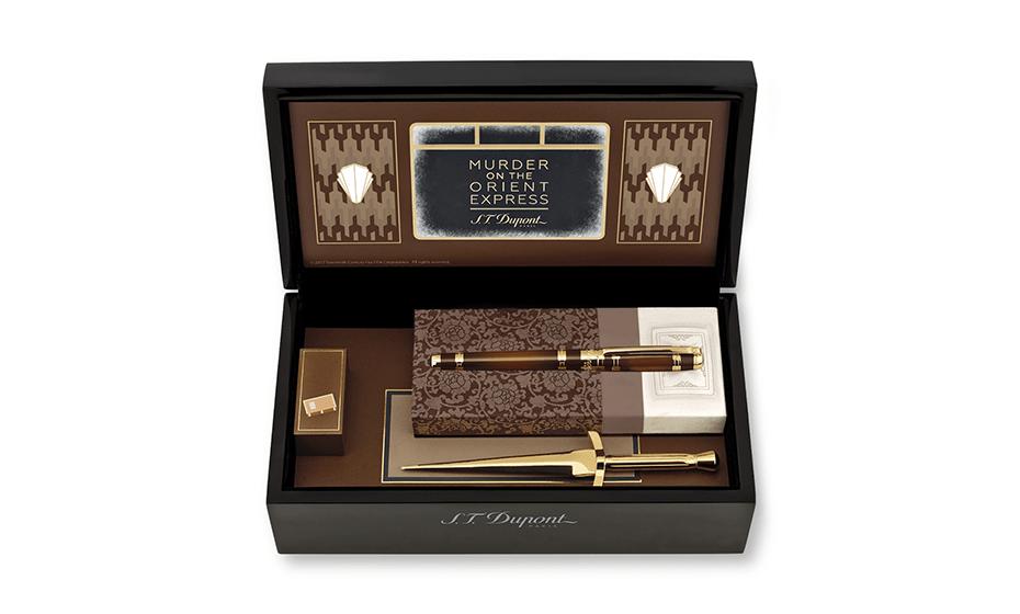 Набор S.T. Dupont ручка- позолота, лак, нож- бронза, с отделкой золо  412186
