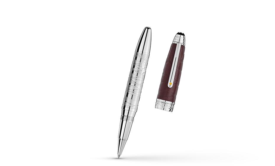 Чернильная ручка Montblanc Ручка-роллер метал корпус, колпачок из кожи  119685