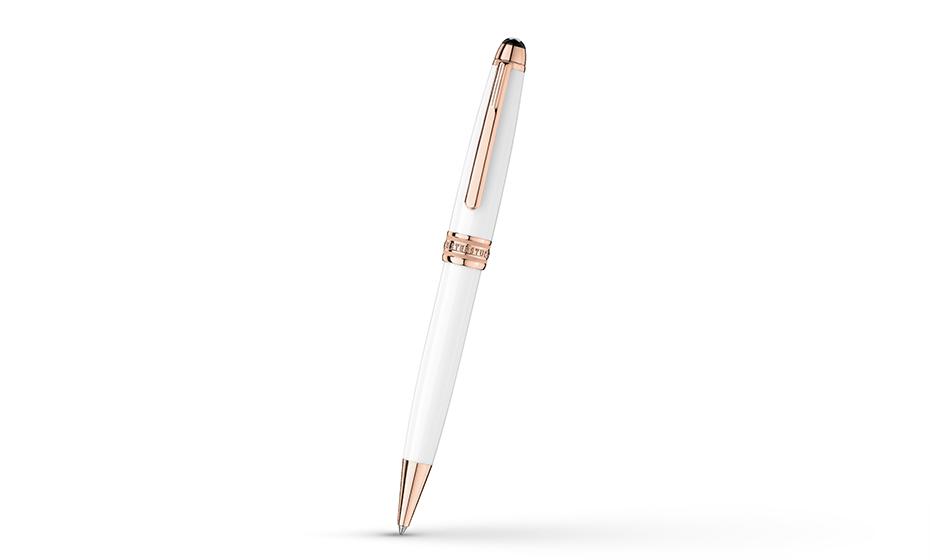 Шариковая ручка Montblanc Драгоценный белый лак, детали с напылением розовог  113325