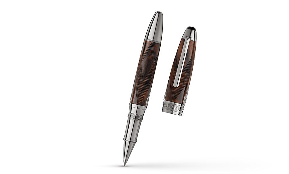 Чернильная ручка Montblanc древесина ореха с фигурным рифлением, вставка из м  118105