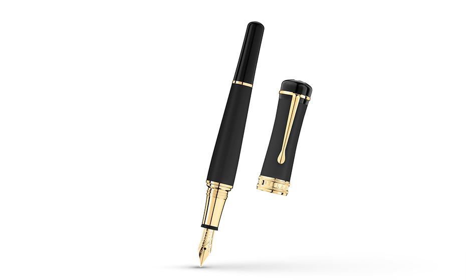 Перьевая ручка Montblanc драгоценная смола, отделка- позолота, пишущий узел  117472