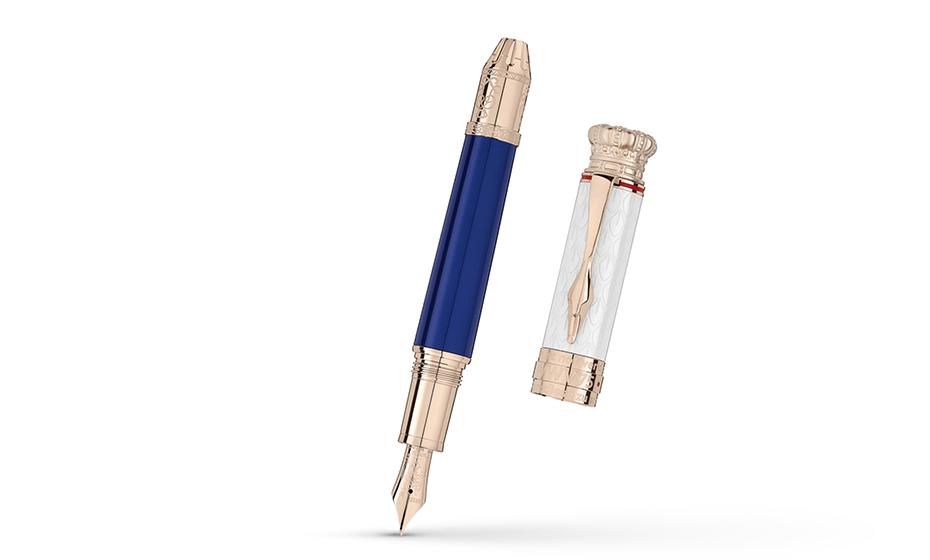 Перьевая ручка Montblanc лак, отделка- позолота, гравировка, перо- золото 7  117842