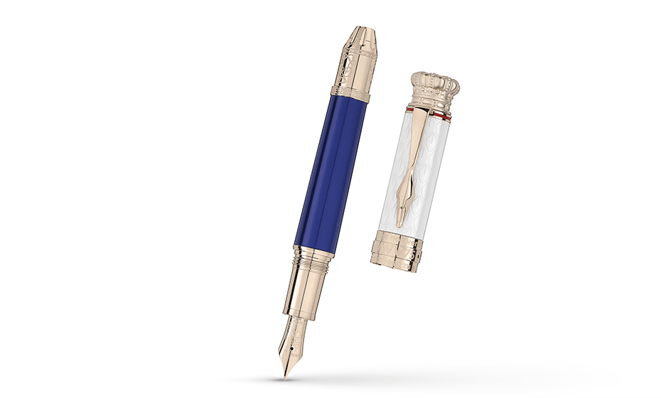 Перьевая ручка Montblanc лак, отделка- позолота, гравировка, перо- золото 7  117843