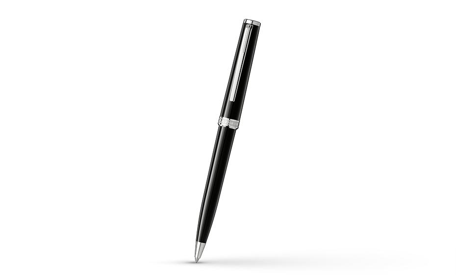 Шариковая ручка Montblanc драгоценная черная смола, детали отделки с платино  114797