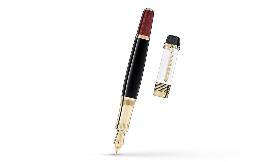 Перьевая ручка Montblanc драгоценная смола, перо золото 18К, отделка позоло  111673'