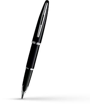 Перьевая ручка Waterman Carene Black Sea ST, золото 18К, лак, посеребрение  S0354090