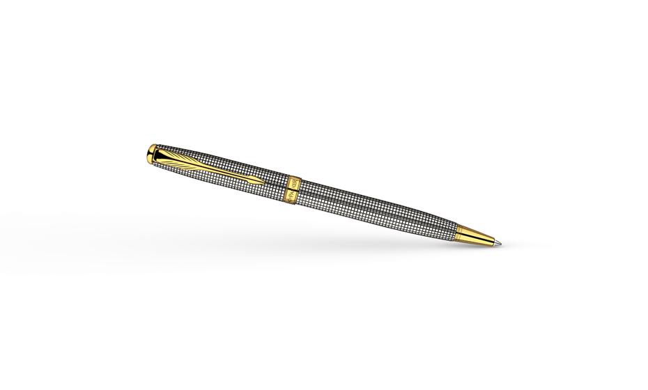 Шариковая ручка Parker Sonnet Cisele, стерлинговое серебро, позолота 23К  R0808120
