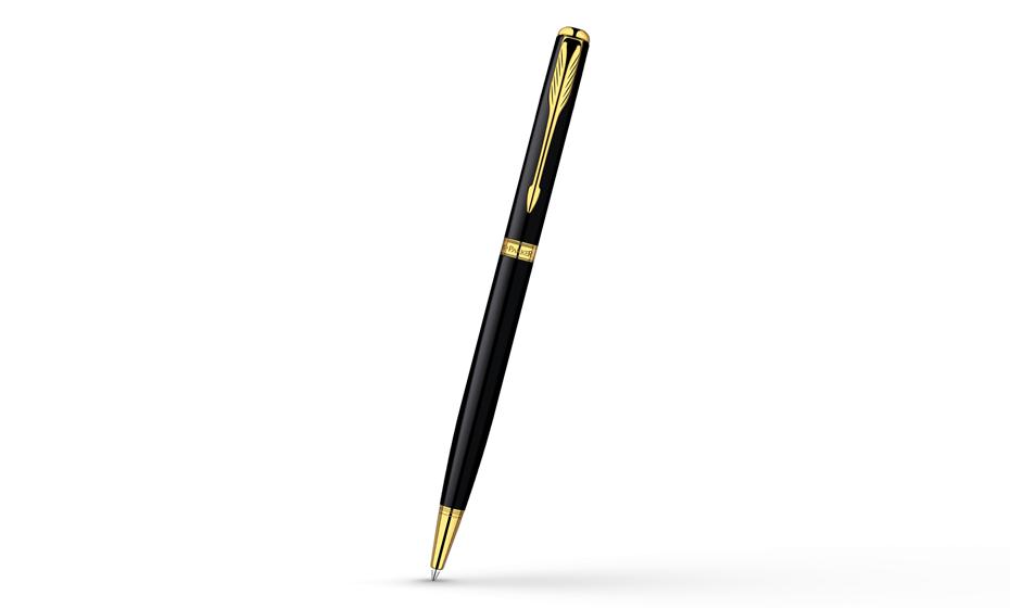 Шариковая ручка Parker Sonnet Slim Laque Black GT, черный лак, позолота 2  R0808680