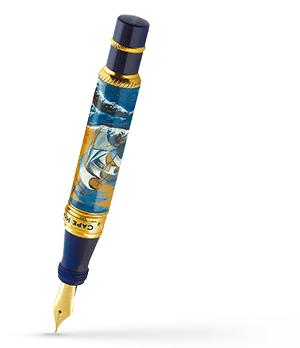 Перьевая ручка Ancora CAP HORN, золото 18К, акриловая смола, роспись, ти  CAP HORN/FP
