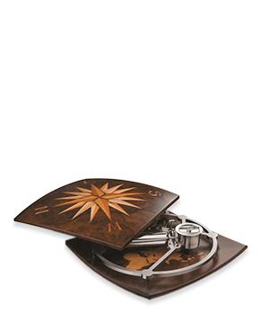 Музыкальная шкатулка Reuge Greenwich, в виде компаса с картой, ореховое дерев  AXA.72.5805.001