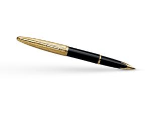 Перьевая ручка Waterman Carene Essential Black and Gold GT, золото 18К, ла  S0909750