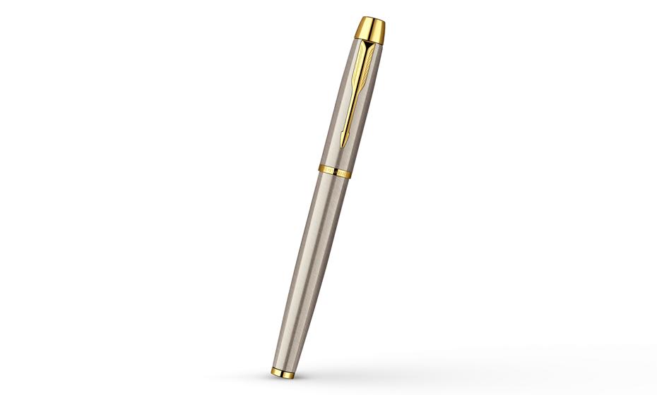 Чернильная ручка Parker IM Brushed Metal GT корпус матовый лак с позолотой 23К, арт.  S0856400
