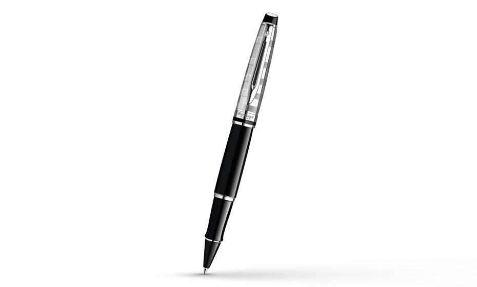 Чернильная ручка Waterman Expert 3 DeLuxe Black CT, черный лак, гравировка,  S0952340 3501170952344