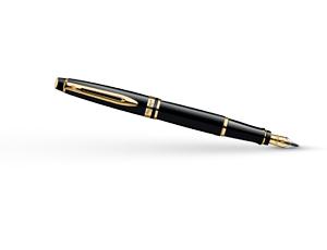 Перьевая ручка Waterman Expert Essential Black GT, нержавеющая сталь, позо  S0951640