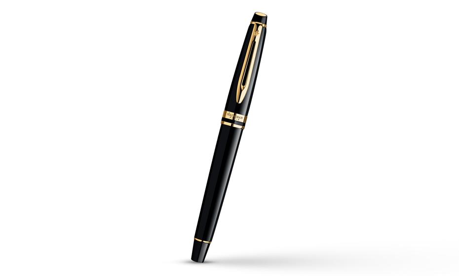 Чернильная ручка Waterman Expert Essential Black GT, позолота 23К, черный ла  S0951680