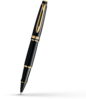 Чернильная ручка Waterman Expert Essential Black GT, позолота 23К, черный ла  S0951680