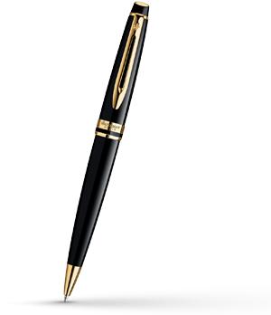 Шариковая ручка Waterman Expert Essential Black GT, позолота 23К, черный ла  S0951700