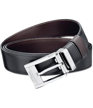 Ремень S.T. Dupont Business Chic, сталь, палладий, кожа, черный/кор  7920120