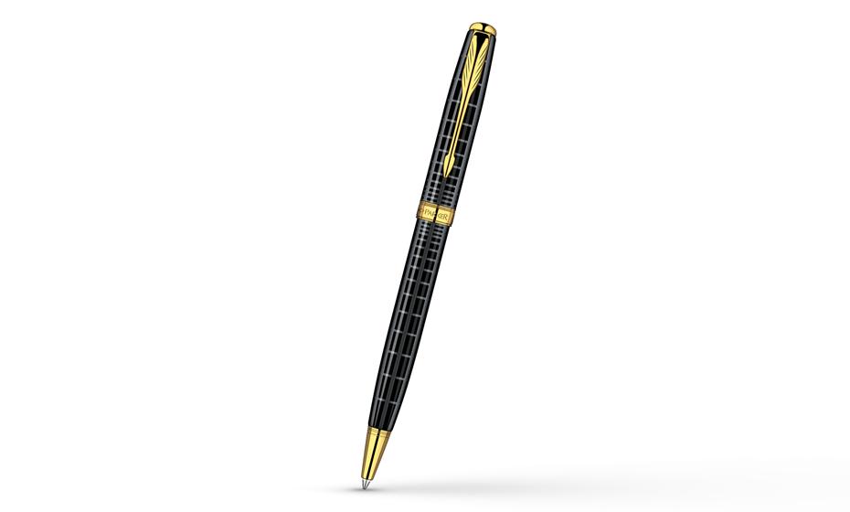 Шариковая ручка Parker Sonnet Dark Grey Laquer GT, лак, рисунок, позолота  S0912470