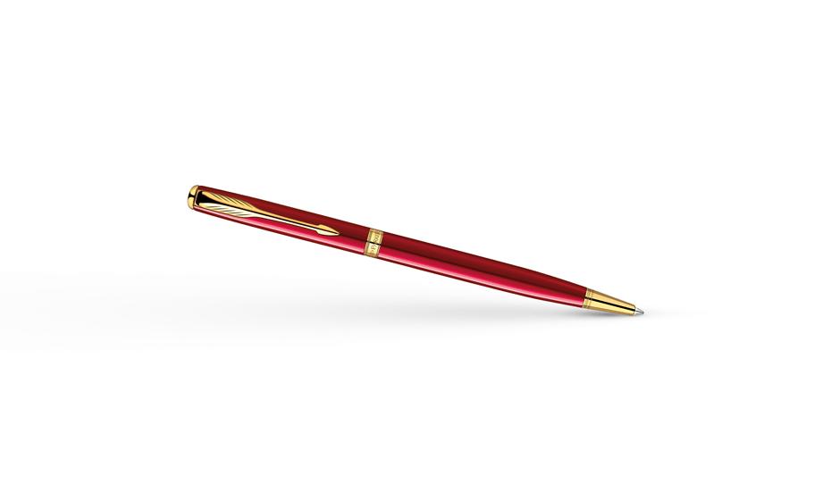 Шариковая ручка Parker Sonnet Slim Lacquer Red GT, красный лак, позолота  1859473