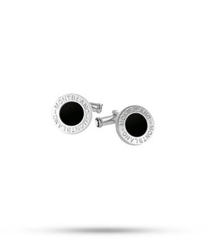 Запонки Montblanc сталь круглые с ониксом  107463