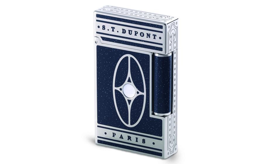 Зажигалка S.T. Dupont Восточный Экспресс, синий лак с серебряными вкрапл  16028