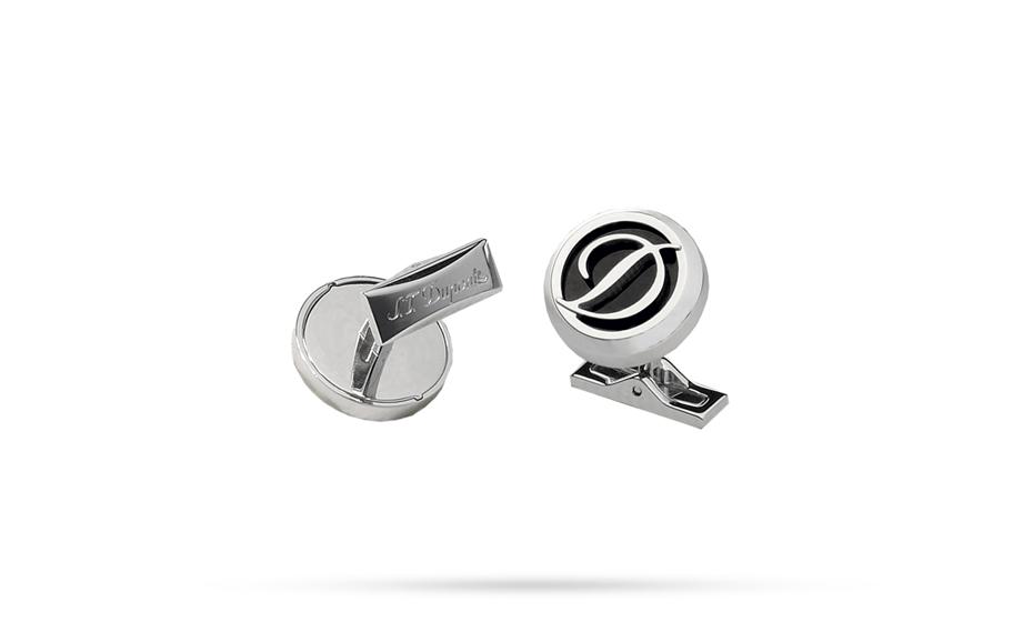 Запонки S.T. Dupont S.T. Dupont, круглые, черный лак, логотип буква