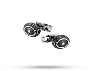 Запонки Montblanc Iconic, круглые, сталь, черный карбон  111312